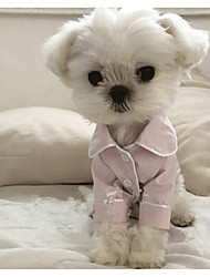 cheap -Dog Pajamas Puppy Clothes British Casual / Daily Winter Dog Clothes Puppy Clothes Dog Outfits White Black Pink Costume for Girl and Boy Dog Silk S M L XL XXL