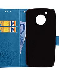 Недорогие -Кейс для Назначение Motorola Мото G5 Plus / Moto G5 Кошелек / Бумажник для карт / со стендом Чехол Однотонный Твердый Кожа PU