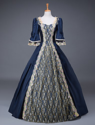 cheap -Cinderella Queen Victoria Dress Cosplay Costume Masquerade Ball Gown Adults' Women's Rococo Victorian Medieval Renaissance Party Prom Christmas Halloween Carnival Festival / Holiday Satin Cyan Women's