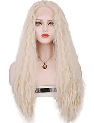 cheap -Synthetic Lace Front Wig Loose Wave Loose Wave Lace Front Wig Blonde Long Silver Synthetic Hair Women's Middle Part Sew in 100% kanekalon hair Blonde
