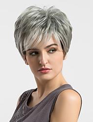 cheap -Human Hair Blend Wig Straight Short Hairstyles 2020 Straight Highlighted / Balayage Hair Capless Women's Grey