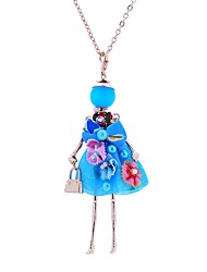 cheap -Women's Pendant Necklace Long Princess Ladies Lace Alloy Beige Dark Blue Red Necklace Jewelry For Party Stage