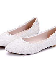 cheap -Women's Wedding Shoes Flat Heel Pointed Toe Beading / Appliques PU(Polyurethane) Comfort / Novelty Spring / Fall White / Party & Evening / EU40