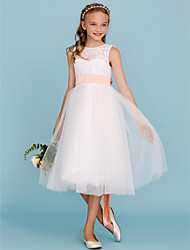cheap -A-Line / Princess Crew Neck Tea Length Lace / Tulle Junior Bridesmaid Dress with Sash / Ribbon / Pleats / Wedding Party / Open Back / See Through