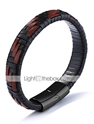 cheap -Men's Leather Bracelet woven Magnetic Rock Hip-Hop Leather Bracelet Jewelry Black For Party Birthday Gift Evening Party / Titanium Steel