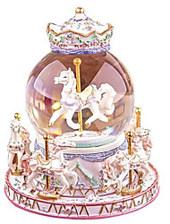 cheap -Music Box Light Up Toy Carousel Music Box Horse Carousel Cartoon Merry Go Round Cute Lighting Glow in the Dark Unique Toughened Glass Women's Unisex Boys' Girls' Kid's Adults Kids 1 pcs Graduation