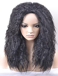 cheap -Synthetic Wig Afro Afro Wig Medium Length Natural Black Synthetic Hair Women's Black