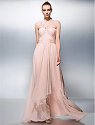 cheap -A-Line One Shoulder Floor Length Chiffon Elegant / Minimalist / Pastel Colors Prom / Formal Evening Dress with Draping / Ruched 2020