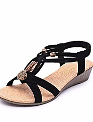cheap -Women's Sandals Flat Heel Open Toe Fleece Comfort Summer Black / Beige / EU37