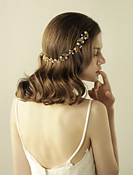 cheap -Gemstone & Crystal Tulle Imitation Pearl Alloy Tiaras Headbands Flowers Headpiece with Crystal Feather 1 Wedding Special Occasion