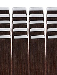 cheap -Tape in Hair Extensions Remy Human Hair Seamless Glue in Tape Hair Extension 20pc Dark Brown #2