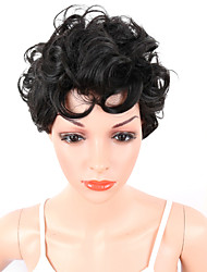 cheap -Synthetic Wig Curly / Afro With Bangs Synthetic Hair Middle Part / African American Wig / For Black Women Black Wig Women's Short Natural