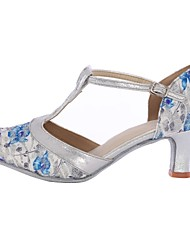 cheap -Women's Modern Shoes / Ballroom Shoes Silk Toggle Clasp Heel High Heel Customizable Dance Shoes Blue / Indoor / EU40