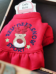 cheap -Dog Dress Winter Dog Clothes Red Costume Cotton Reindeer Casual / Daily