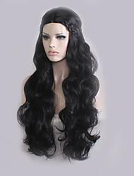 cheap -Synthetic Wig Cosplay Wig Wavy Natural Wave Natural Wave Wavy Asymmetrical With Bangs Wig Long Natural Black Synthetic Hair Women's Natural Hairline Black