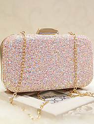 cheap -Women's Bags Faux Leather Evening Bag Sequin / Chain for Wedding / Event / Party / Formal White / Blushing Pink / Wedding Bags