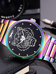 cheap -Men's Women's Bracelet Watch Wrist Watch Quartz Stainless Steel Green / Purple 30 m Creative Cool Punk Analog Charm Luxury Casual Rainbow Bangle - Green Blue / Purple Two Years Battery Life