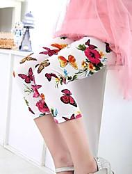 cheap -Kids Girls' Floral Cotton Pants White