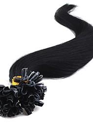 cheap -Febay Fusion / U Tip Human Hair Extensions Straight Virgin Human Hair Human Hair Extensions Brazilian Hair Nano Women's Dark Auburn