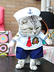 cheap -Dog Costume Winter Dog Clothes White Costume Polyester Sailor Party Cosplay Halloween S M L XL