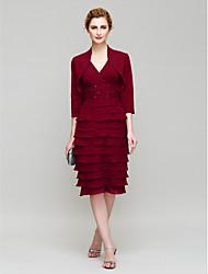 cheap -Sheath / Column Mother of the Bride Dress Convertible Dress V Neck Knee Length Chiffon 3/4 Length Sleeve with Beading 2021