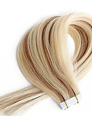 cheap -Tape In Human Hair Extensions Straight Human Hair Human Hair Extensions Women's Beige Blonde / Bleached Blonde