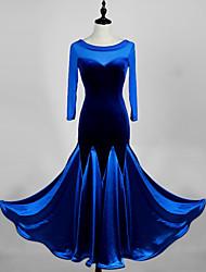 cheap -Ballroom Dance Dress Split Joint Women's Performance 3/4 Length Sleeve High Stick-Satin Velvet Waltz Tango Costumes Outfits Male Dancewear Violet Blue Black XXL