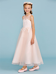 cheap -A-Line / Princess Jewel Neck Ankle Length Lace / Tulle Junior Bridesmaid Dress with Appliques / Sash / Ribbon / Wedding Party / Open Back