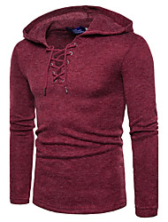 cheap -Men's Daily Active / Street chic Solid Colored Long Sleeve Regular Pullover Sweater Jumper, Hooded Fall / Winter Black / Wine / Light gray S / M / L