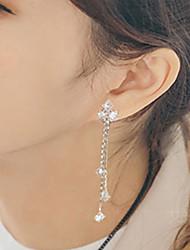 cheap -Women's AAA Cubic Zirconia Stud Earrings Drop Earrings Long Ladies Fashion Stainless Steel Cubic Zirconia Earrings Jewelry Silver For Party Daily
