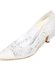 cheap -Women's Wedding Shoes Stiletto Heel Pointed Toe Satin Basic Pump Spring / Summer Black / White / Ivory / EU40