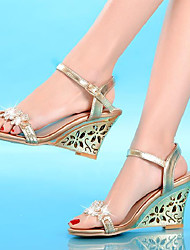 cheap -Women's Sandals Wedge Heels Wedge Heel Open Toe Crystal / Buckle Synthetic Microfiber PU Comfort / Novelty Summer / Fall Gold / Silver / Blue / Party & Evening / Party & Evening