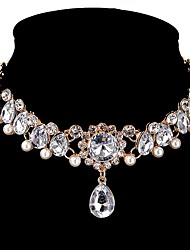 cheap -Women's Synthetic Diamond Choker Necklace Water Drop Necklace Drop Personalized Classic Zircon Alloy Gold Necklace Jewelry For Wedding Party