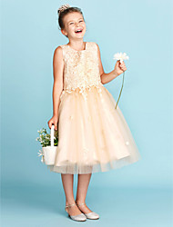 cheap -A-Line / Princess Jewel Neck Knee Length Lace / Tulle Junior Bridesmaid Dress with Appliques / Bow(s) / Wedding Party