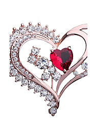 cheap -Women's Brooches Heart Fashion Elegant Rhinestone Brooch Jewelry Champagne For Party Gift
