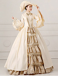 cheap -Princess Rococo Dress Party Costume Masquerade Ball Gown Women's Lace Lace Satin Costume Beige Vintage Cosplay Party Prom Long Sleeve Floor Length Ball Gown Plus Size Customized