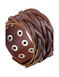Недорогие -Муж. Кожаные браслеты тканый Панк Камни Мода Кожа Браслет Ювелирные изделия Черный / Кофейный Назначение Повседневные