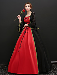 cheap -Dress Cosplay Costume Masquerade Ball Gown Adults' Women's Victorian Medieval Renaissance Party Prom Halloween Carnival New Year Festival / Holiday Satin Red+Black Carnival Costumes Plus Size