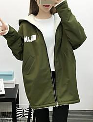 abordables -Femme Quotidien / Sortie Couleur Pleine / camouflage Normal Rembourré, Coton / Acrylique Manches Longues Vert Claire / Vert Véronèse / Kaki M / L / XL
