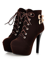 cheap -Women's Boots Stiletto Heel Round Toe Lace-up Nubuck leather Booties / Ankle Boots Comfort / Novelty / Fashion Boots Spring / Summer Black / Brown / Red / Party & Evening
