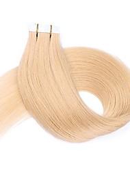 Недорогие -16 18 20 22 24 лента в наращивании человеческих волос 20 штук лента для утка кожи в человеческих волосах # 613 блондинка pu tape hair