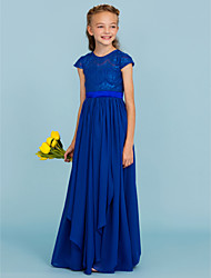 cheap -A-Line / Princess Crew Neck Floor Length Chiffon / Lace Junior Bridesmaid Dress with Bow(s) / Sash / Ribbon / Wedding Party