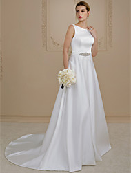cheap -Ball Gown Wedding Dresses Scoop Neck Court Train Satin Regular Straps Simple Backless with Sashes / Ribbons Buttons Beading 2021