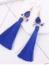 cheap -Women's Drop Earrings Tassel Long Drop Ladies Tassel Fashion Earrings Jewelry Red / Blue / Rainbow For Daily