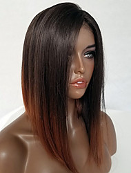 cheap -Remy Human Hair Lace Front Wig Bob style Brazilian Hair Straight Wig 130% Density Women's Short Human Hair Lace Wig Luckysnow