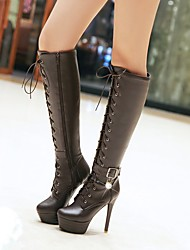cheap -Women's Boots Knee High Boots Stiletto Heel / Platform Round Toe Imitation Pearl / Buckle / Lace-up PU Knee High Boots Ankle Strap / Fashion Boots Fall / Winter Black / Dark Brown / White / EU36