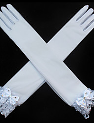 cheap -Net Opera Length Glove Mesh / Bridal Gloves / Party / Evening Gloves With Rhinestone / Bowknot / Embroidery