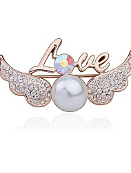 cheap -Women's Brooches Wings Fashion Cute Rhinestone Brooch Jewelry Champagne For Party Casual