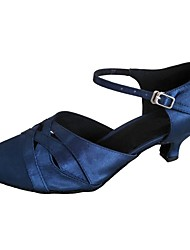 cheap -Women's Modern Shoes / Ballroom Shoes Satin Buckle Sandal Customized Heel Dance Shoes Navy / Beige / Gray / Indoor