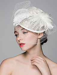 cheap -Flax / Feather Hats / Hair Clip with 1 Wedding / Party / Evening Headpiece